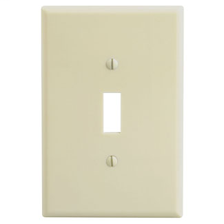Leviton 86101 3.5 x 0.255 x 5.25 Inch 1-Gang Smooth Ivory Thermoset Device Mount Oversize Toggle Switch Wallplate