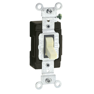 15 Amp, 120 Volt, Toggle Lighted Handle - Illuminated OFF Single-Pole AC Quiet Switch, Commercial Grade, Grounding, Side Wired, - Ivory