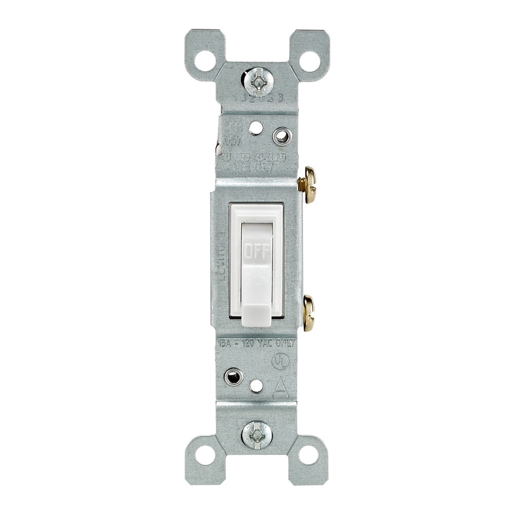 Leviton 1451-WCP 120 VAC 15 Amp 1-Pole 1/2 Hp White Thermoplastic Non-Grounding Framed Toggle Quiet Switch