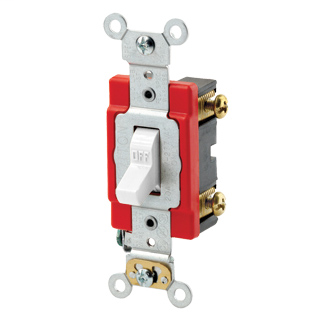 20 Amp, 120/277 Volt, Toggle Single-Pole AC Quiet Switch, Extra Heavy Duty Spec Grade, Self Grounding, Back & Side Wired - WHITE