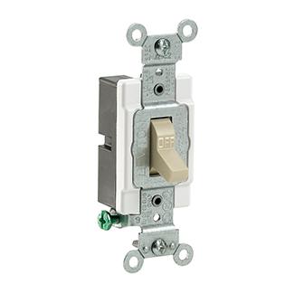 Leviton CS115-2I 120/277 VAC 15 Amp 1-Pole 2 Hp Ivory Thermoplastic Grounding Toggle Quiet Switch
