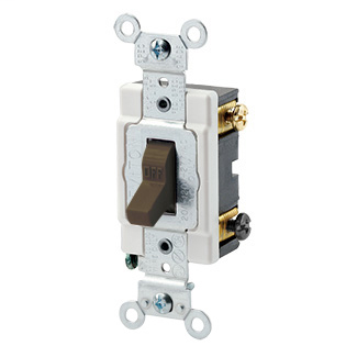 20 Amp, 120/277 Volt, Toggle Double-Pole AC Quiet Switch, Heavy Duty Spec Grade, Grounding, Back & Side Wired - BROWN