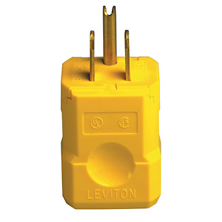 Leviton 5256-VY 125 Volt 15 Amp 2-Pole 3-Wire NEMA 5-15P Yellow Nylon Grounding Polarized Straight Blade Plug