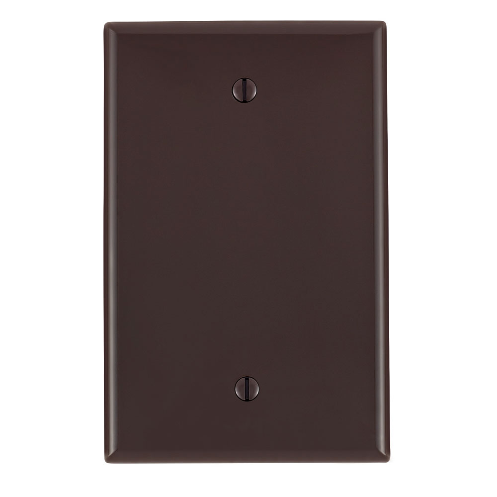 1-Gang No Device Blank Wallplate, Midway Size, Thermoplastic Nylon, Box Mount, - Brown