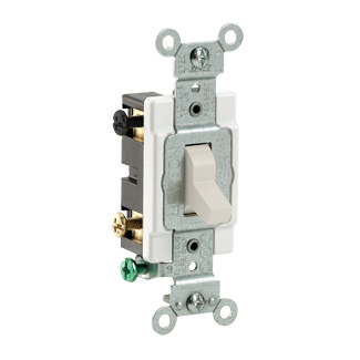 20 Amp, 120/277 Volt, Toggle 4-Way AC Quiet Switch, Commercial Spec Grade, Grounding, Side Wired - Light Almond