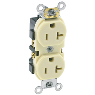 Duplex Receptacle Outlet, Heavy-Duty Industrial Specification Grade, Smooth Face, 20 Amp, 125 Volt, Side Wire,NEMA 5-20R, 2-Pole, 3-Wire, Self-Grounding - Ivory