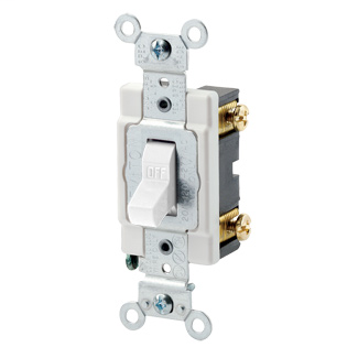 15 Amp, 120/277 Volt, Toggle Single-Pole AC Quiet Switch, Commercial Spec Grade, Grounding, Back & Side Wired, - White