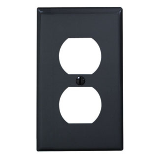 Leviton 80703-E 2.75 x 0.215 x 4.5 Inch 1-Gang Smooth Black Thermoplastic Nylon Device Mount Standard Receptacle Wallplate