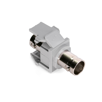 BNC Feedthrough QuickPort Connector, Nickel-Plated, 50 Ohm, Grey Housing