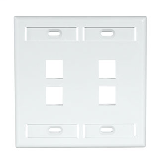 Dual-Gang QuickPort Wallplate with ID Windows, 4-Port, White