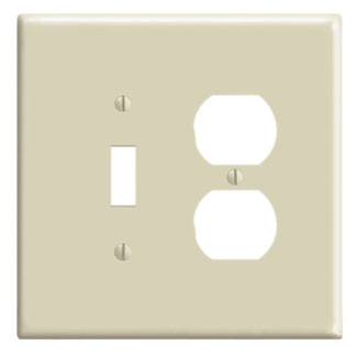 Leviton 86105 5.31 x 0.255 x 5.25 Inch 2-Gang Smooth Ivory Thermoset Device Mount Oversize Combination Wallplate