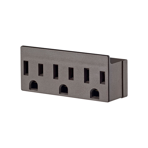 15 Amp, 125 Volt, NEMA 5-15R, 2-Pole, 3-Wire, Grounded Single-to-Triple Adapter, 3 Straight or Angle Plugs Accepted - Brown