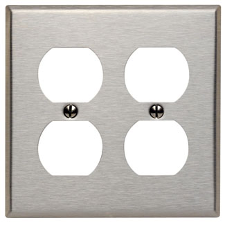 Leviton 84016 4.562 x 0.187 x 4.5 Inch 2-Gang Smooth Brushed 430 Stainless Steel Device Mount Standard Receptacle Wallplate
