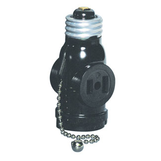 660 Watt, 125 Volt, 2-Pole, 2-Wire Pull Chain Lampholder with 2 Outlets. Pull chain controls lamp socket only, while outlet is continuously live - Black