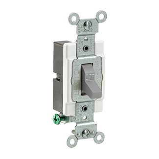 Leviton CS115-2GY 15 Amp 120/277 Volt Toggle 1-Pole Commercial Spec Grade Grounding Side Wired Grey AC Quiet Switch