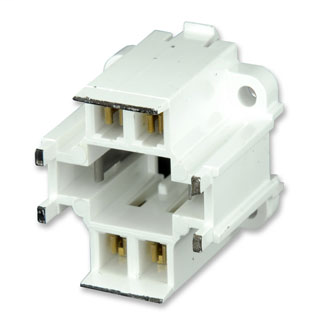 Leviton 26725-401 GX24q-1 Base 10 W, 13 W 4-Pin 10 mm Vertical Black Color Code White Body Compact Fluorescent Lampholder