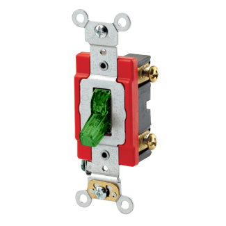 20 Amp, 120 Volt, Toggle Pilot Light - Illuminated ON - Req. Neutral Single-Pole AC Quiet Switch, Industrial Grade, Self Grounding, Back & Side Wired, - Green
