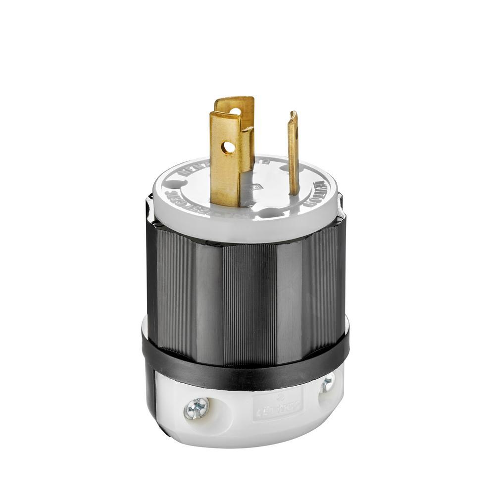 Leviton 2611 125 Volt 30 Amp 2-Pole 3-Wire NEMA L5-30P 2 Hp Black/White Nylon Grounding Locking Plug