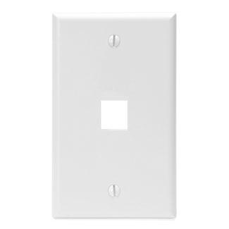 Leviton 41080-1WP 2.75 x 0.45 x 4.5 Inch 1-Gang 1-Port White Plastic Flush Mount Wallplate
