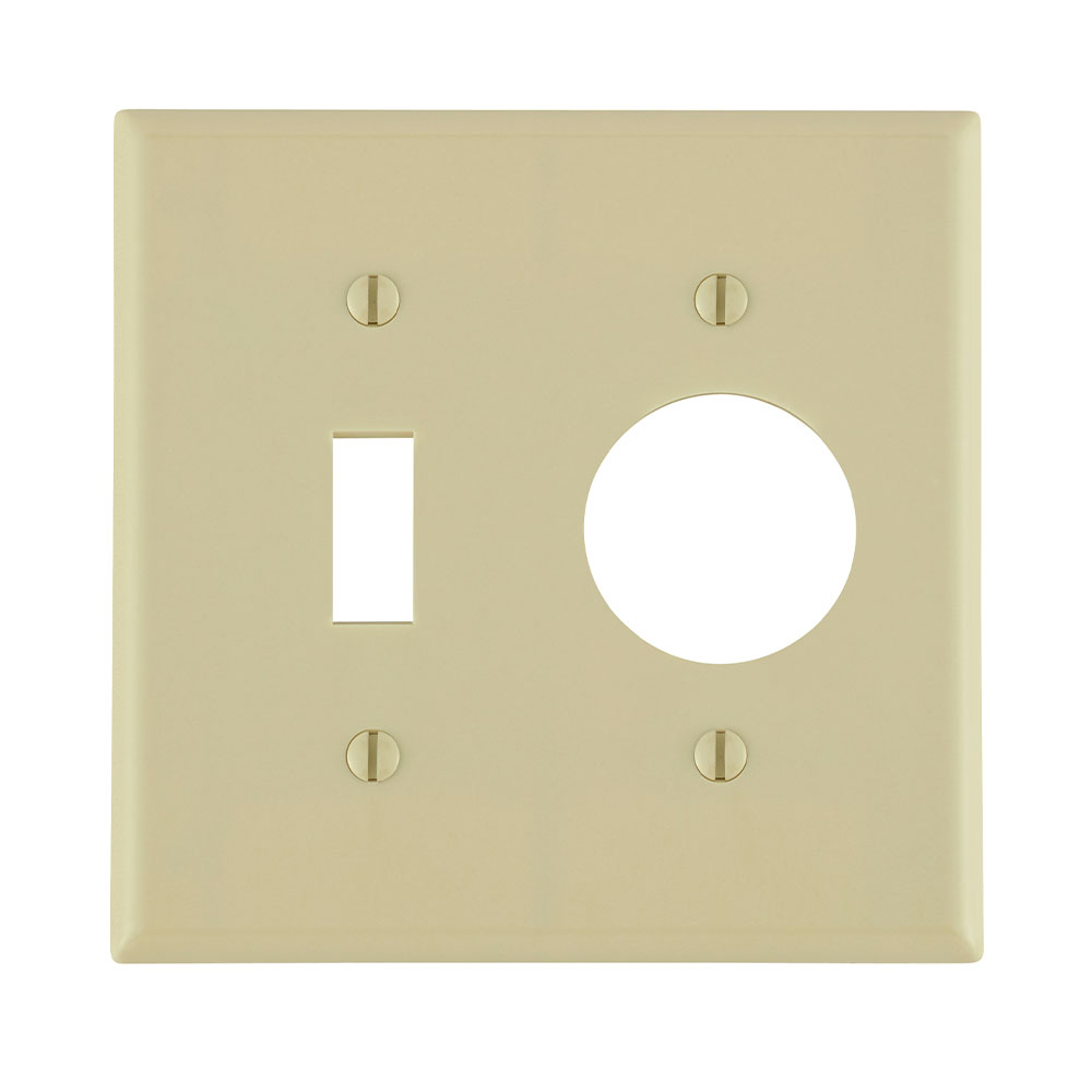 Leviton 86007 2-Gang 1-Toggle 1-Single 1.406 Inch Diameter Device Standard Size Thermoset Ivory Combination Wallplate