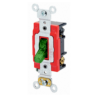 20 Amp, 120 Volt, Toggle Pilot Light - Illuminated ON - Req. Neutral 3-Way AC Quiet Switch, Extra Heavy Duty Spec Grade, Self Grounding, Back & Side Wired, - Green