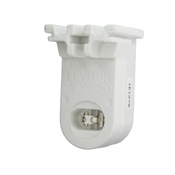 Fluorescent lampholder, pedastal base, 660W-600V, high output,recessed double contact, stationary end, C.O.F. white. For push-in wiring. Mounting screws and nutspackaged bulk in bags. Packaged 200/Leviton carton bulk.