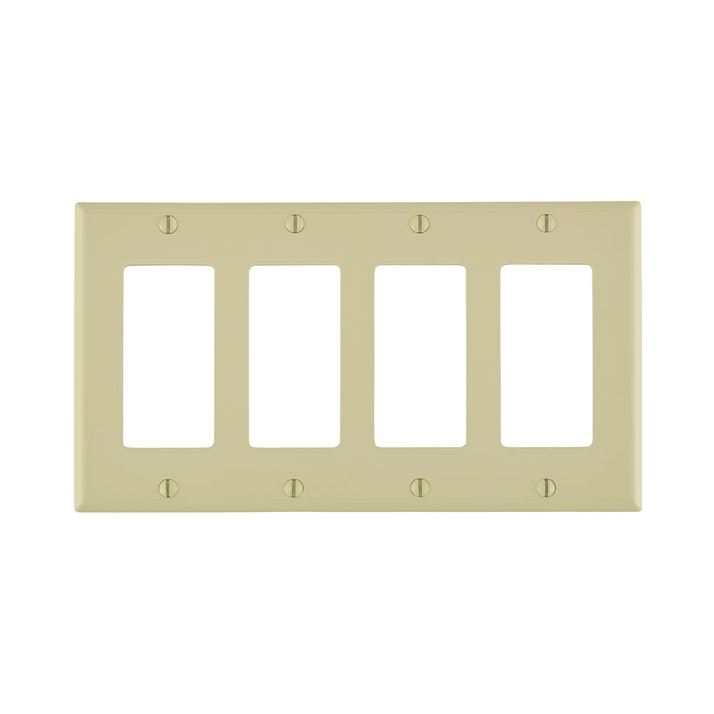 Leviton 80412-NI 8.19 x 0.22 x 4.5 Inch 4-Gang Smooth Ivory Thermoplastic Nylon Device Mount Standard Receptacle Wallplate
