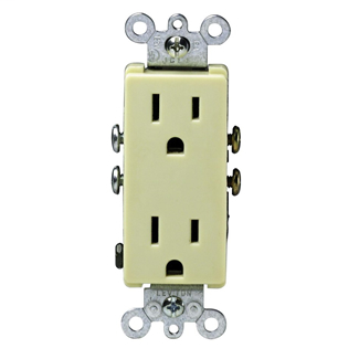 Leviton 5325-I 125 Volt 15 Amp 2-Pole 3-Wire NEMA 5-15R Ivory Thermoplastic Decorator Straight Blade Duplex Receptacle