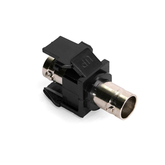 BNC Feedthrough QuickPort Connector, Nickel-Plated, 50 Ohm, Black Housing