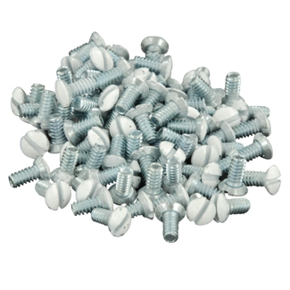 """5/16"""" Long 6-32 Thread. Oval Head Milled Slot Replacement Wallplate Screws. White"""