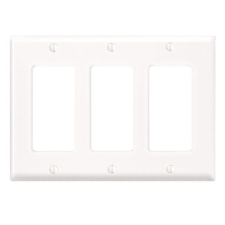 Leviton 80411-NW 6.38 x 0.22 x 4.5 Inch 3-Gang Smooth White Thermoplastic Nylon Device Mount Standard Receptacle Wallplate