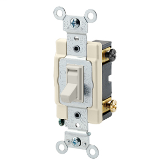 15 Amp-120/277 Volt AC, Side wired AC quiet switch, 4-way, framed toggle. Light Almond