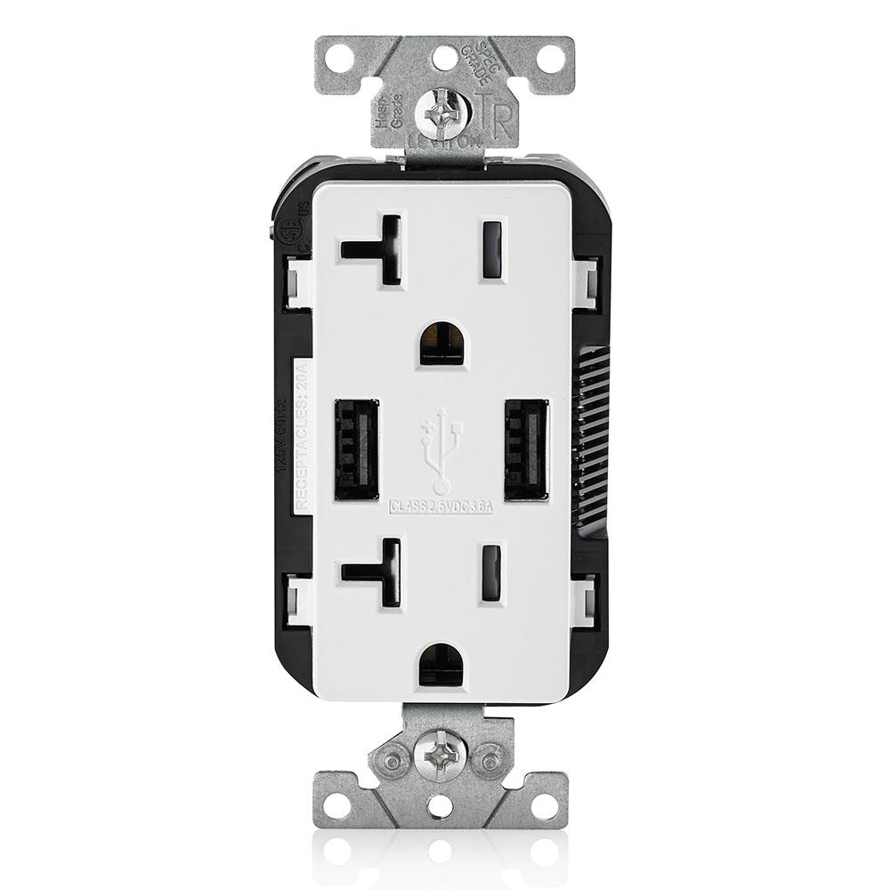 LEV T5832-W 20A TR RECPT USB CHRG