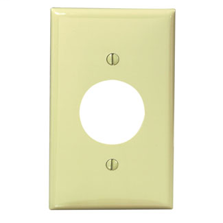 Leviton 80704-I 2.75 x 0.215 x 4.5 Inch 1-Gang Smooth Ivory Thermoplastic Nylon Device Mount Standard Receptacle Wallplate