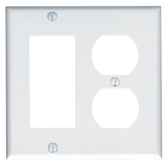 Leviton 80455-W 4.56 x 0.22 x 4.5 Inch 2-Gang White Thermoset Device Mount Standard Combination Wallplate