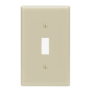 Leviton 86001 2.75 x 0.22 x 4.5 Inch 1-Gang Smooth Ivory Thermoset Device Mount Standard Toggle Switch Wallplate