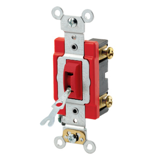 20 Amp, 120/277 Volt, Toggle Locking Single-Pole AC Quiet Switch, Industrial Grade, Self Grounding, Back & Side Wired, - Red