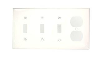 Leviton 80743-W 4-Gang 3-Toggle 1-Duplex Device Mount Thermoplastic Nylon White Combination Wallplate