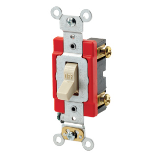 20 Amp, 120/277 Volt, Toggle Double-Pole AC Quiet Switch, Extra Heavy Duty Spec Grade, Self Grounding, Back & Side Wired - IVORY