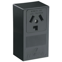 Leviton 5054-P00 Black 30 Amp 125/250V 3-Pole 3-Wire Surface Mount Dryer Receptacle Non-Grounding Side Wired NEMA 10-30R Industrial Grade
