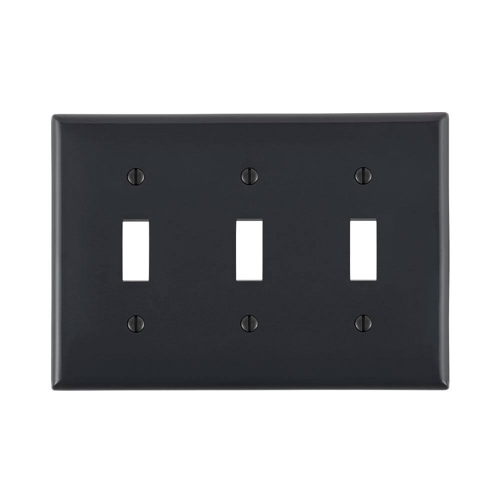 Leviton 80711-E 3-Gang Toggle Device Mount Switch Standard Size Thermoplastic Nylon Black Wallplate