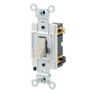 20 Amp, 120/277 Volt, Toggle 3-Way AC Quiet Switch, Commercial Grade, Grounding, Back & Side Wired, - Light Almond
