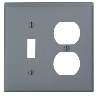 Leviton 80705-GY 2-Gang 1-Toggle 1-Duplex Device Mount Standard Size Thermoplastic Nylon Grey Combination Wallplate