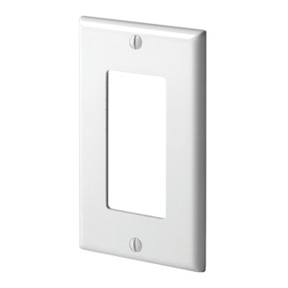 Leviton 80401-W 2.75 x 0.25 x 4.5 Inch 1-Gang Smooth White Thermoset Device Mount Standard Wallplate