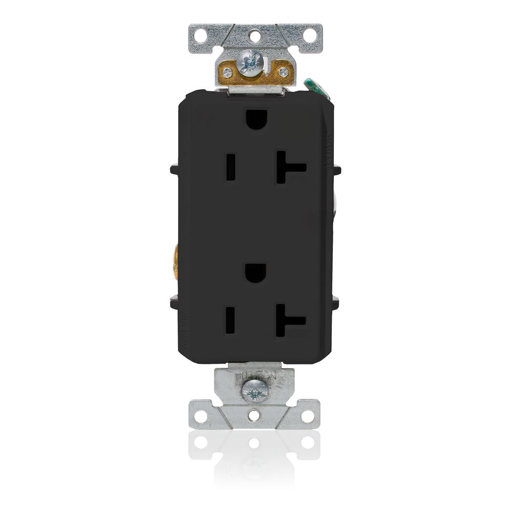 Leviton 16352-E 125 Volt 20 Amp 2-Pole 3-Wire NEMA 5-20R Black Thermoplastic Nylon Straight Blade Duplex Receptacle