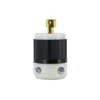 15 Amp, 125 Volt, NEMA L1-15P, 2P, 2W, Plug, Locking Blade, Industrial Grade, Non-Grounding - BLACK-WHITE