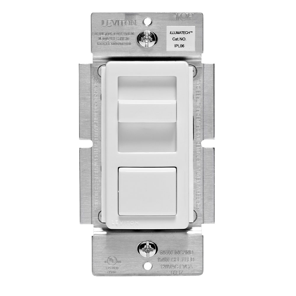 Leviton IPL06-10Z 120 VAC 600 W 1-Pole 3-Way White/Ivory/Light Almond Electro Mechanical Incandescent Preset Slide Dimmer