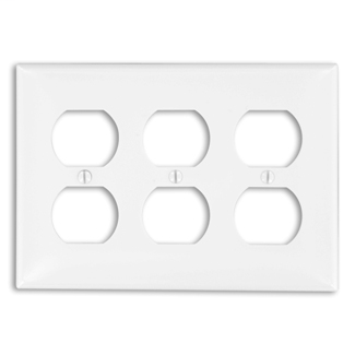 3-Gang Duplex Device Receptacle Wallplate, Standard Size, Thermoplastic Nylon, Device Mount, - White