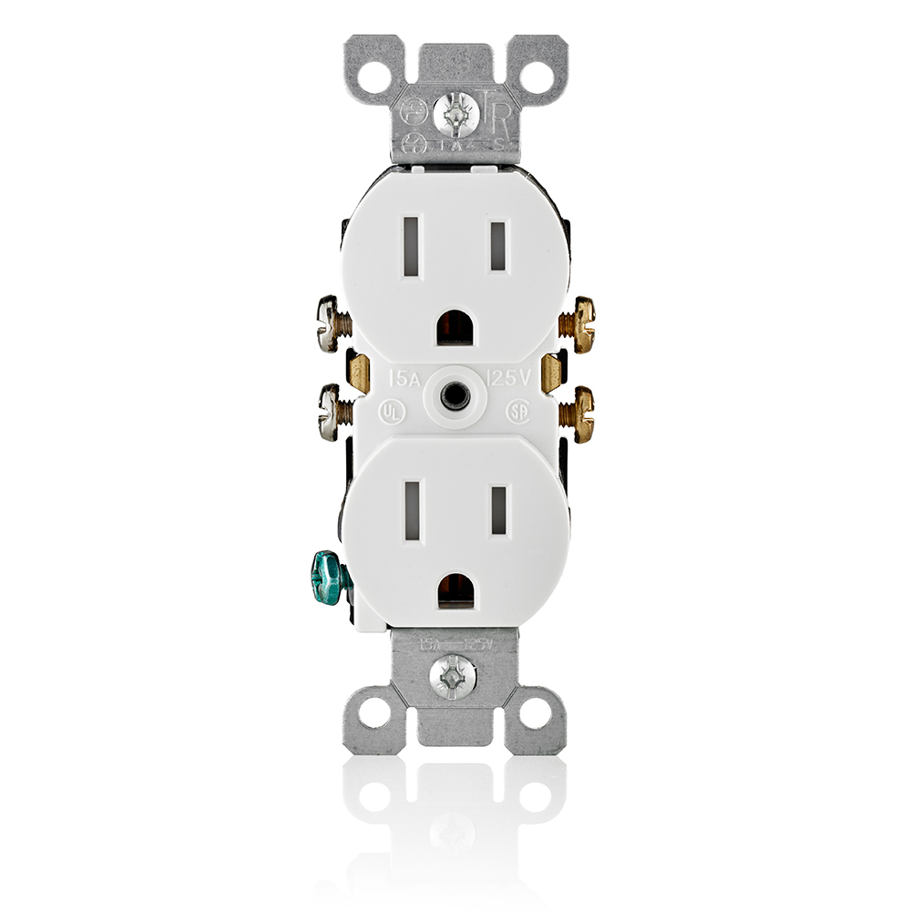 Leviton T5320-W 125 Volt 15 Amp 2-Pole 3-Wire NEMA 5-15R White Thermoplastic Grounding Straight Blade Duplex Receptacle