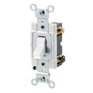 20 Amp, 120/277 Volt, Toggle 4-Way AC Quiet Switch, Commercial Spec Grade, Grounding, Back & Side Wired, - White